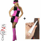 Ladies Twiggy Lulu Pink Black Swinging 1960's Fancy Dress Costume & Hat & Spliff