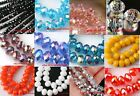 50Pcs/80Pcs 2 Size Glass Crystal Rondelle Faceted Spacer Beads You Pick Color