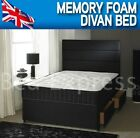 4FT SMALL 4FT6 DOUBLE MEMORY FOAM DIVAN BED SET + 10 INCH MEMORY FOAM MATTRESS