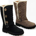 LADIES WOMENS FLEECE FUR LINING MID CALF GRIP SOLE QUILTED WINTER SNOW BOOTS 3-8
