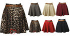 Women Ladies High Waist Pleated Animal Leopard Print Belted Mini Skater Skirt