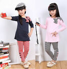 Kids Long Sleeve Top Shirts+Bow Striped Leggings Set 3-8Y Outfit for Cute Girls