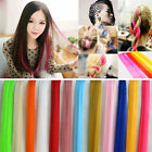 "New 20"" Long Solid Colored Colorful Clip On In Hair Extension U Pick Color"
