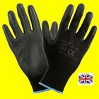 1,12 or 24 Pairs  Black Nylon PU Safety Work Gloves Builders Grip Gardening