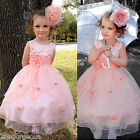 Flower Girl Tulle Dress Petticoat Wedding Bridesmaid Party Coral Size 18m-7y 220