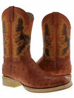Men's cognac brown leather ostrich quill cowboy boots for western rodeo biker