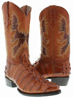 Men's cognac brown leather crocodile alligator Tail Cut cowboy boots