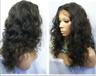fashion lace front wig soft malaysia curly real human hair wigs 1# jet black