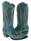 Women's ladies turquoise leather cowboy boots sequins western riding biker rodeo