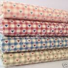 "PER 1/2 METRE vintage hearts fabric 100% cotton pink blue green marroon 44"" wide"