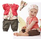 Girls Baby Kids 0-24M Top+Pants+Headband 3Pcs Sets Summer Outfit Lovely Clothing