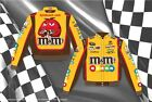 Nascar Jacket-Kyle Busch M&M's Yellow Brown Mens Authentic Nascar Twill Jacket