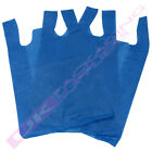 BLUE PLASTIC VEST STYLE SHOPPING CARRIER BAGS 11 x 17 x 21