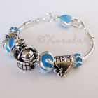 Blue Baby Boy Shower European Charm Bracelet With Mom, Stroller, Rattle Beads