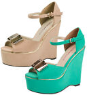 DOLCIS STRAPPY METAL BOW PLATFORM PEEPTOE WEDGES WOMENS LADIES SHOES SANDALS 3-8