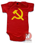 Naughtees Clothing Babygrow Hammer Sickle USSR Communist Era Red Cotton Babysuit