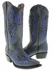 Women's ladies blue leather cowboy boots sequins western riding biker rodeo
