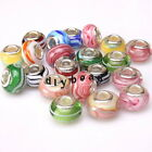 Assorted Colorful Round Stripe Charms Lampwork Beads Fit European Bracelets New