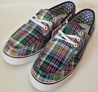 "VANS. Genuine Women's Classic ""HULLIE"" Plaid Canvas Boat Shoes. Sizes: 9.5 & 10."