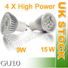 4/12X GU10 220-240V 9W 15W Ultra Bright Day/Warm White LED LAMPS BULBS LIGHTS