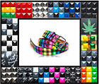 Studded 3 Three Row Leather Belt Checkered Rasta Pot Leaf Metal Punk Rock Goth