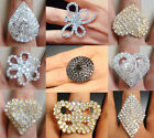 New Lot More Styles Heart Round Animal Adjustable Crystal Rhinestone Rings
