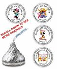108 MICKEY MINNIE MOUSE WINNIE POOH BIRTHDAY HERSHEY CANDY KISSES LABELS FAVORS