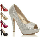 WOMENS LADIES WEDDING PROM PARTY HIGH HEEL PLATFORM COURT SHOES PUMPS SIZE