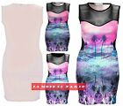 Y22 NEW WOMENS MESH INSERT TUNIC TOP LADIES BEACH PRINT BODYCON DRESS 8,10,12,14