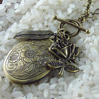VINTAGE ANTIQUE STYLE VICTORIAN NECKLACE FLORAL LOCKET ROSE LONG BRONZE CHAIN