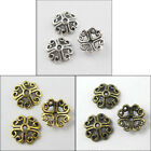 150Pcs Antiqued Silver Gold Bronze Tone Heart Hollow End Bead Caps 9mm