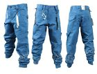 BRAND NEW KIDS BOYS ETO EB332 DESIGNER CUFFED BLUE CHINO JEANS. SIZES 24-29