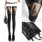 New Women's Faux PU Leather Lace Retro Punk Black Leggings Tights Pants S-XXL