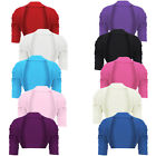 GIRLS RUCHED SLEEVE COTTON SHRUG COTTON BOLERO CROPPED CARDIGAN 2-14 YEARS