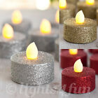 Set Of 6 Glitter Battery Operated Flickering LED Tea Lights For Wedding Party