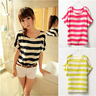 Sexy Women Loose Chiffon Short Sleeve Striped Casual Blouse T shirt Tops 4 Color