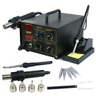 2in1 Soldering Rework Station Solder Iron SMD Hot Air Gun 852D+ 4 Nozzles 5 Tips
