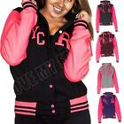 New Womens Ladies Varsity R Fox NYC College Neon Baseball Jacket Hoodie Hooded