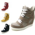 NEW Womens Lace up High Top Ankle Sneakers Wedge Hidden Heel Shoes Size 5.5~8