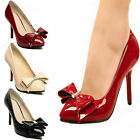 Womens Bowknot Pointy Toe Stilettos Pumps High Heels Court Formal Evening Shoes
