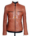 Fugitive Tan Waxed Mens Retro Smart Casual Vintage Real Lambskin Leather Jacket