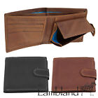 Mens / Gents Genuine Leather Wallet with Coin Holder and Popper Fastening