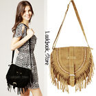 Women Fringe Boho Semicircle Foldover Flap Zip Back Pocket Strap Shoulder Bag