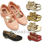 girls kids glitter diamante wedding party evening casual low metal heel shoes7-3