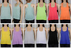 Women's Semi-Sheer Racer Back Scoop Neck Tank Tops - Sleeveless Blouse  - 4381