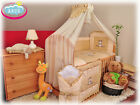 """16 pcs set: cot with drop side BEAR WITH BALLOON""""+Matresses+ embroidered bedding"""