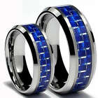 Matching Ring Set - 8mm Blue Carbon Fiber Tungsten Rings Sizes 4-16