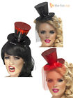 Ladies Mini Top Hat Headband + Veil Hen Night Halloween Burlesque Fancy Dress