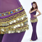 New Belly Dance Costume Hip Scarf Belt velvet  338pcs Golden Coins 10 Colors