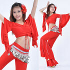 New Belly Dance Costume Hanging Beads Speaker Sleeve Blouse Top 9 Colours